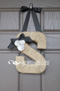 Inspiration taken from EmbellishedLiving's Etsy shop. Visit her at http://www.etsy.com/listing/78019133/jute-monogram-wreath-with-book-page?ref=shop_home_active